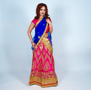 Fuchsia Silk Full Embroidered Lehenga