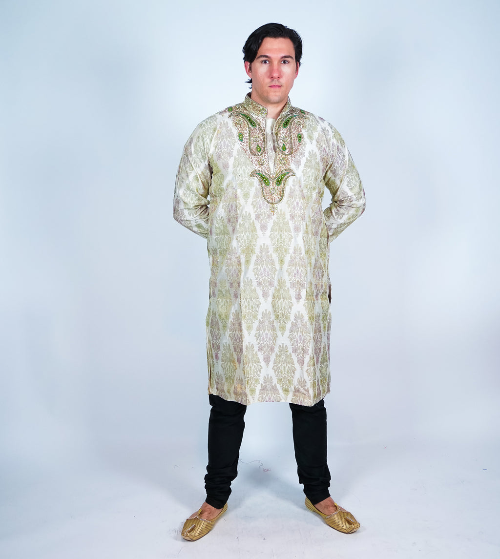 Silk Off White Embroidered Men's Kurta