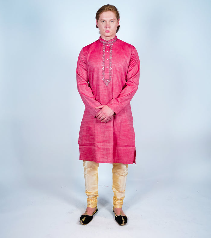 Cotton Salamander Pink Men's Kurta