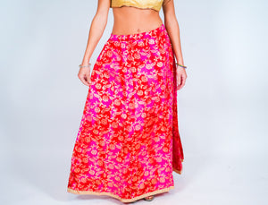 Silk Pink With Gold Trim Brocade Skirt