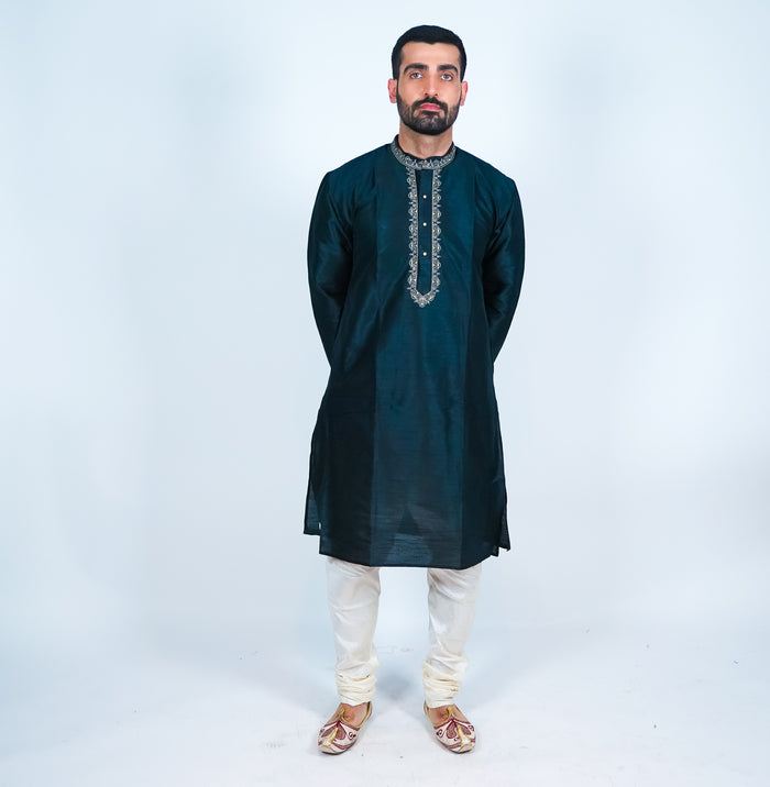 Silk Black Embroidered Men's Kurta
