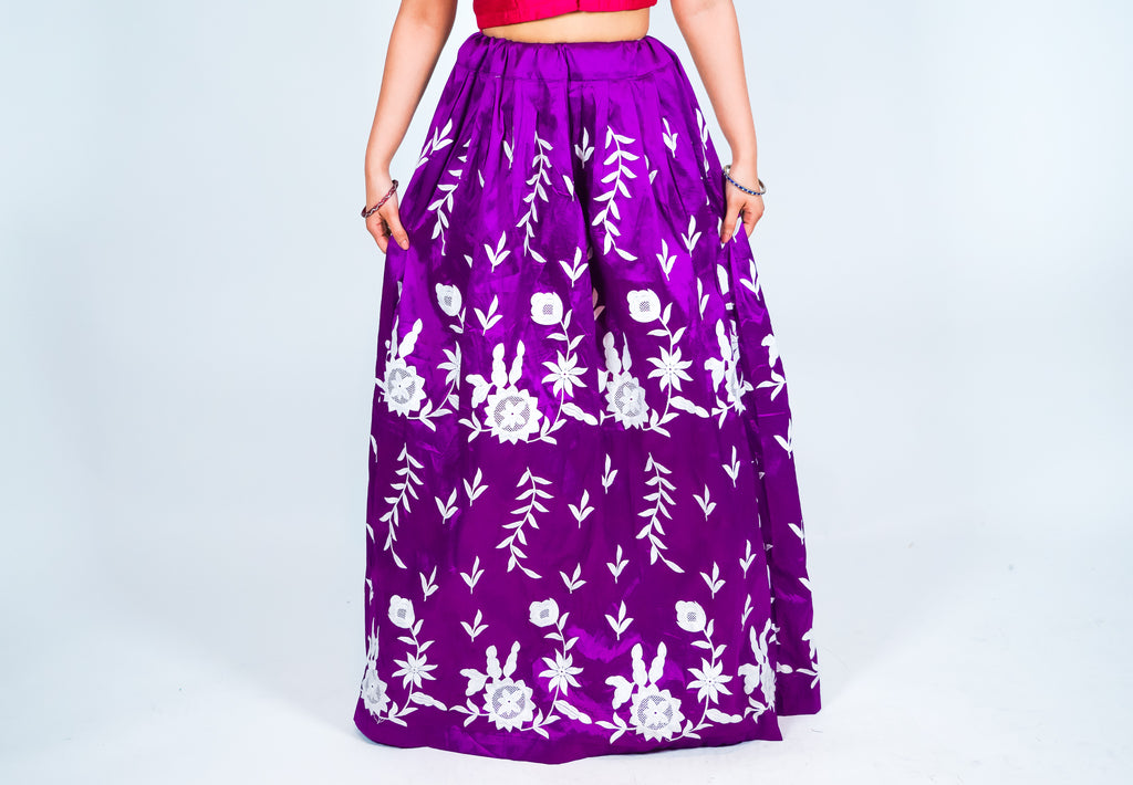 Silk Purple Embroidered Skirt