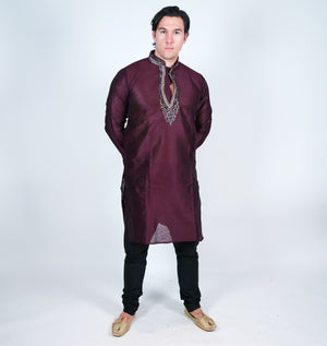 Silk Dark Wine Men's Kurta