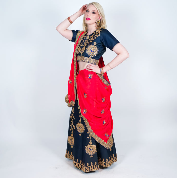 Navy Blue Silk Embroidered Lehenga