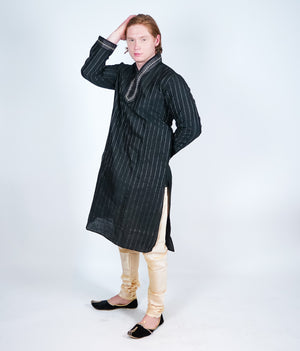 Silk Black Pintuck Men's Kurta
