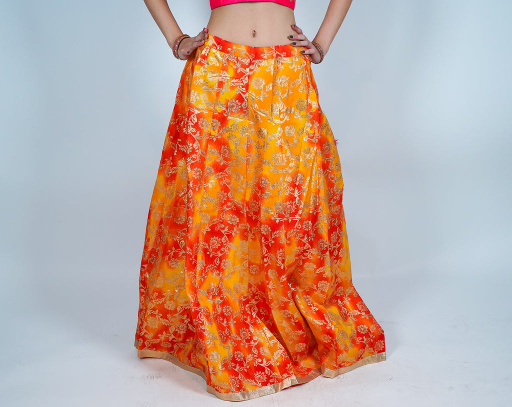 Silk Orange & Gold Brocade Skirt