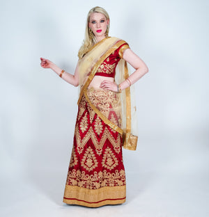 Silk Maroon Heavy Embroidered Lehenga