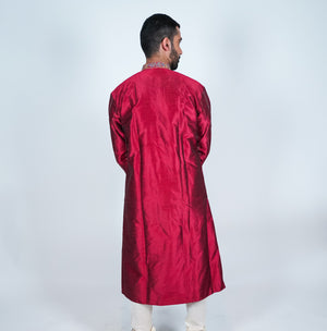 Maroon Silk Embroidered Men's Kurta