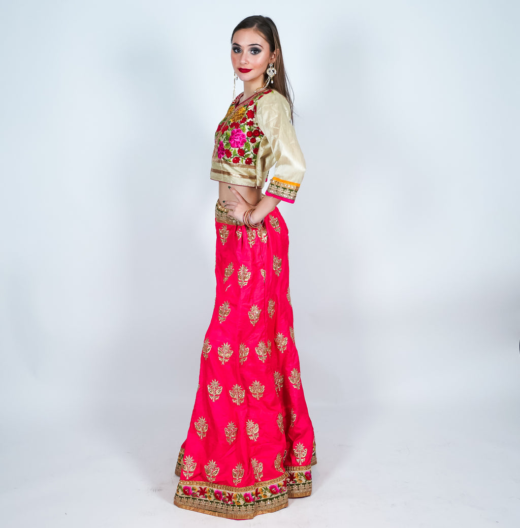 Dark Punch Silk Heavy Embroidered Lehenga