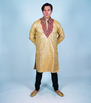 Silk Gold With Maroon Embroidery Men's Kurta