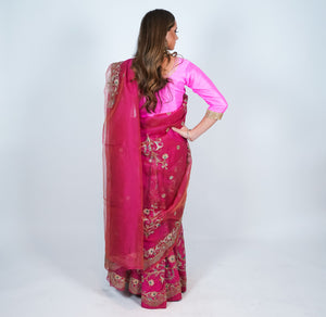 Silk Punch Pink Heavy Embroidered Skirt