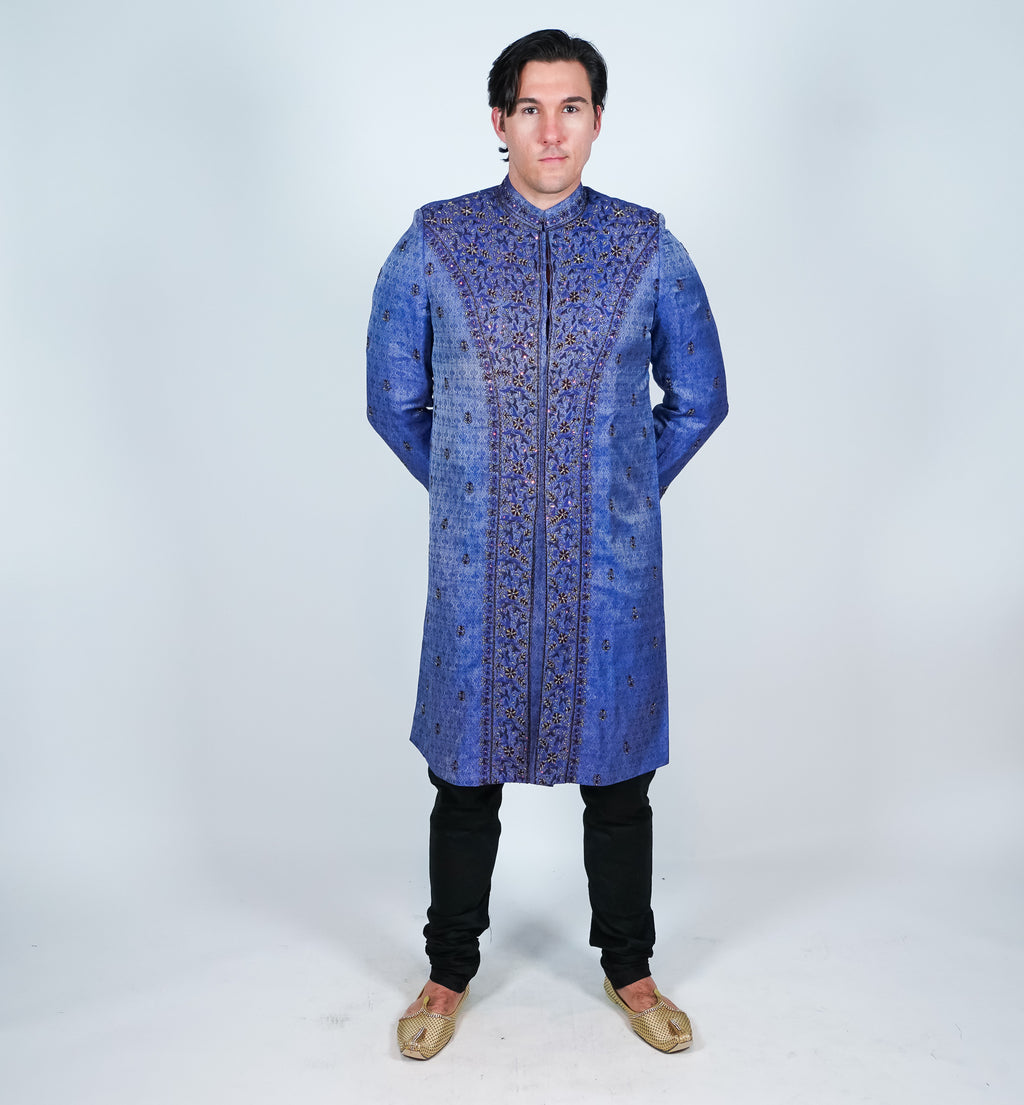 Silk Indigo Blue Embroidered Sherwani