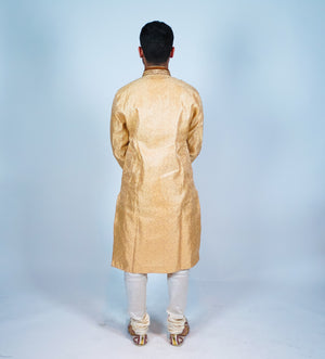 Silk Gold Embroidered Men's Kurta