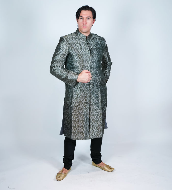 Silk Brocade Paisley Grey Black Sherwani
