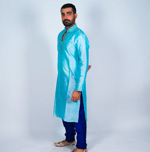Silk Blue Embroidered Men's Kurta