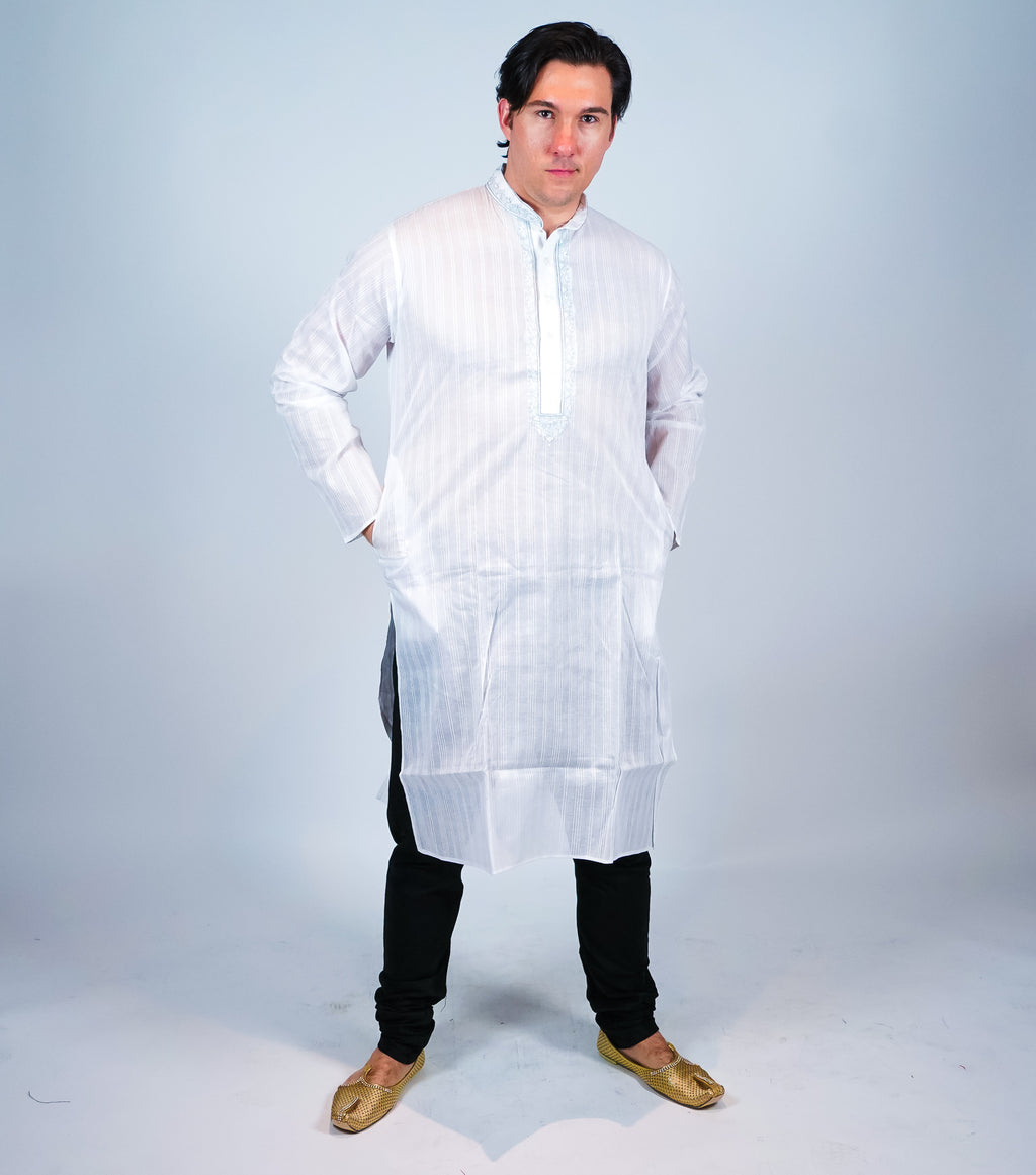 Classic Cotton White Striped Men's Kurta