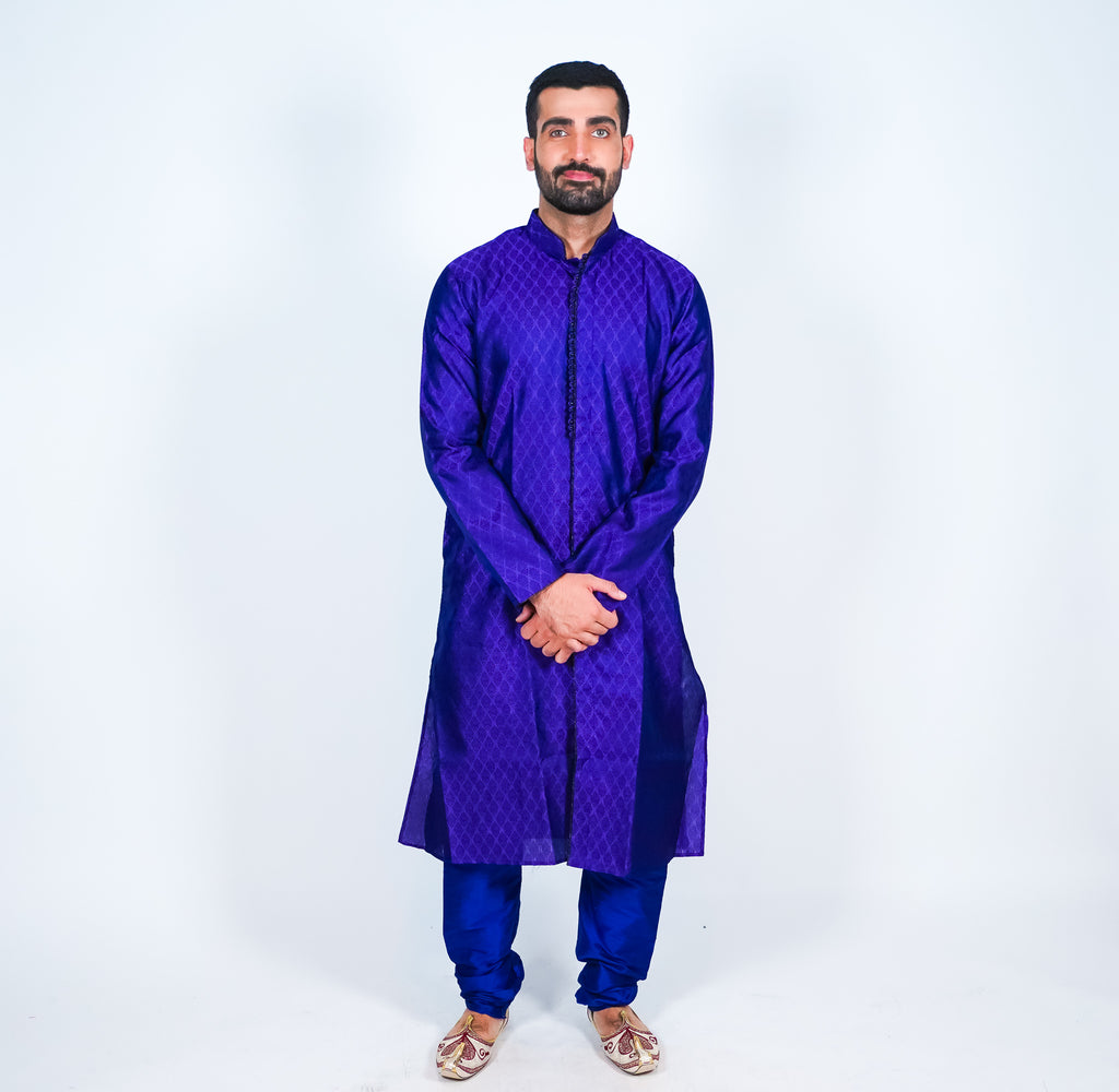 Silk Purple Brocade All Button Down Men's Kurta