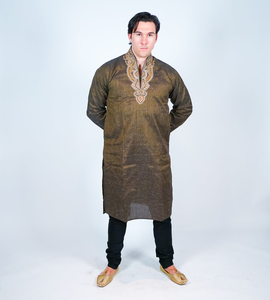 Cotton Brown Men's Kurta Size 50""