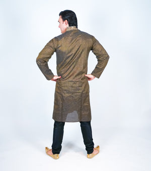Cotton Embroidered Brown Men's Kurta