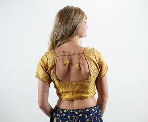 Formal Silk Brocade Dark Royal Gold Crop Top