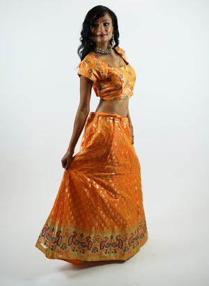 Banarasi Silk Brocade Pumpkin Orange Lehenga
