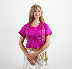 Formal Silk Embroidered Magenta Pink Long Crop Top