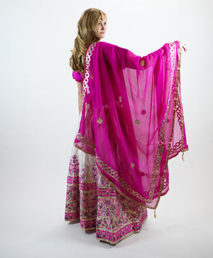 Silk Banarasi Brocade White with Fuchsia Lehenga