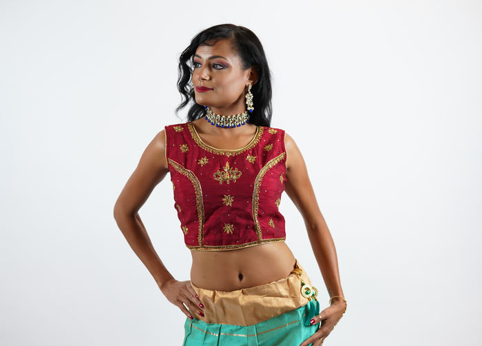 Formal Silk Embroidered Burgundy Red Crop Top