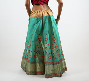 Banarasi Silk Fern Green Lehenga Skirt