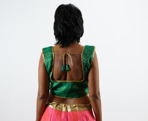 Formal Silk Brocade Forest Green Sleeveless Crop Top