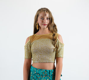 Elegant Laguna Gold Crop Top With Cold Cut Shoulder