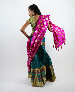Banarasi Silk Brocade Pine Green With Shiny Mellow Gold Border Lehenga Skirt