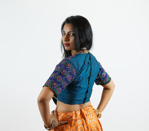 Formal Silk Heavy Embroidered Teal Blue With Indigo Crop Top