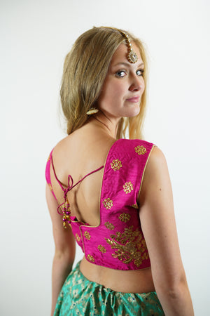 Formal Silk Fuchsia Pink Embroidered Crop Top