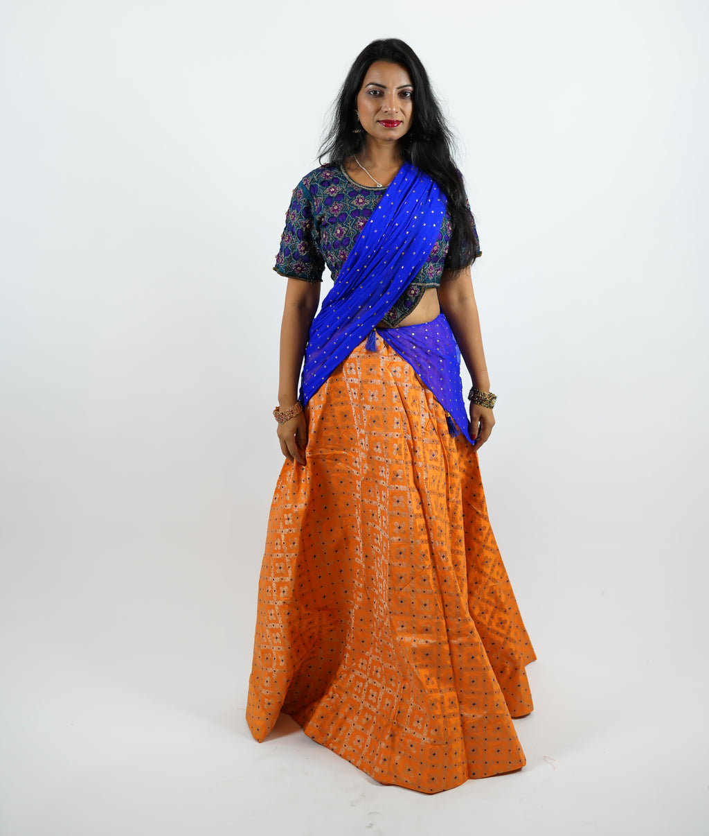 Banarasi Silk Brocade Checkered Apricot Orange Lehenga Skirt