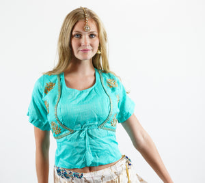 Formal Silk Embroidered Turquoise Blue Long Crop Top
