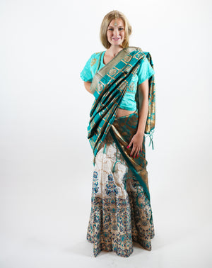 Silk Banarasi Brocade Cream with Pine Green Lehenga