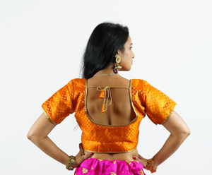 Silk Brocade Tiger Orange Crop Top