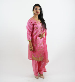 Silk Embroidered Watermelon Pink Salwar Kameez