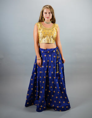 Silk Embroidered Gotta Patti Work Egyptian Blue Lehenga Skirt