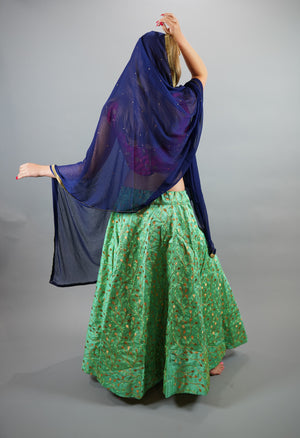 Silk Heavy Embroidered Paris Green Lehenga Skirt