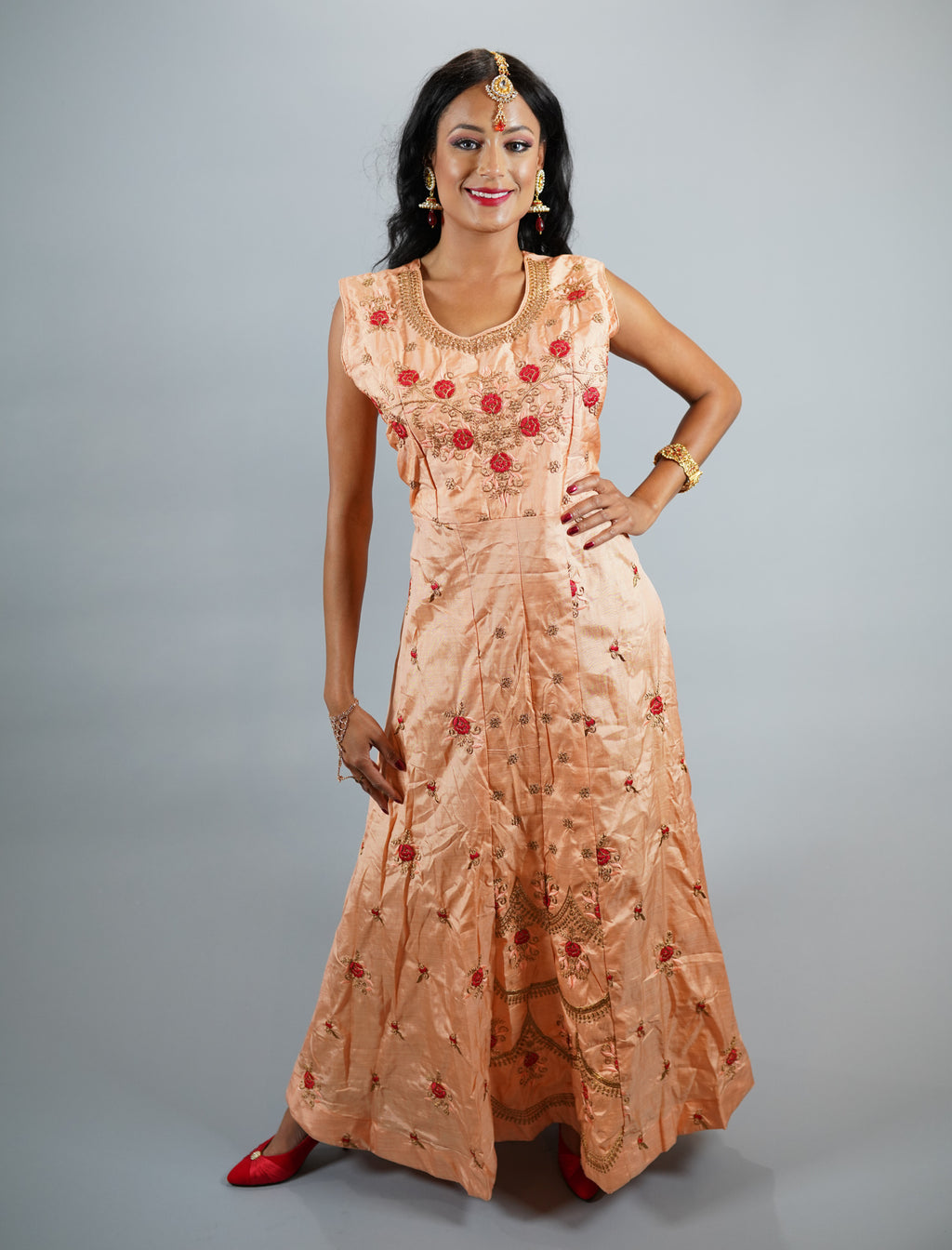 Silk Apricot Peach Embroidered Gown