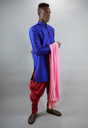Silk Navy Blue Bandhgala Long Sherwani / Jacket
