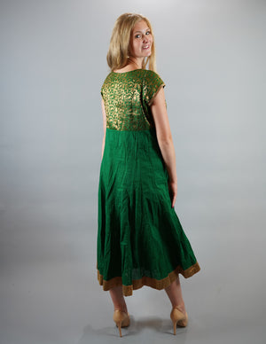 BlockPrint Brocade Forest Green Gown with Gold Trim & Floral Print