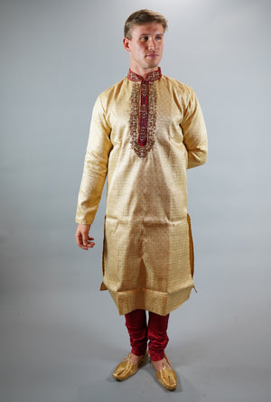 Silk Brocade Embroidered Flax Gold Men's Kurta