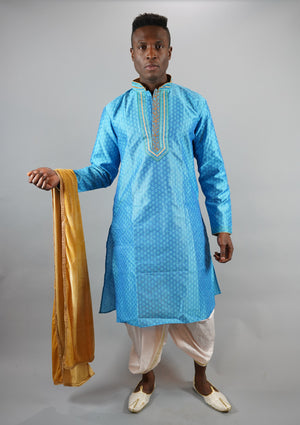 Silk Embroidered Maya Blue Men's Kurta