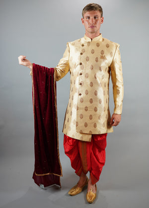 Silk Brocade  Royal Gold Bandhgala Long Sherwani / Jacket
