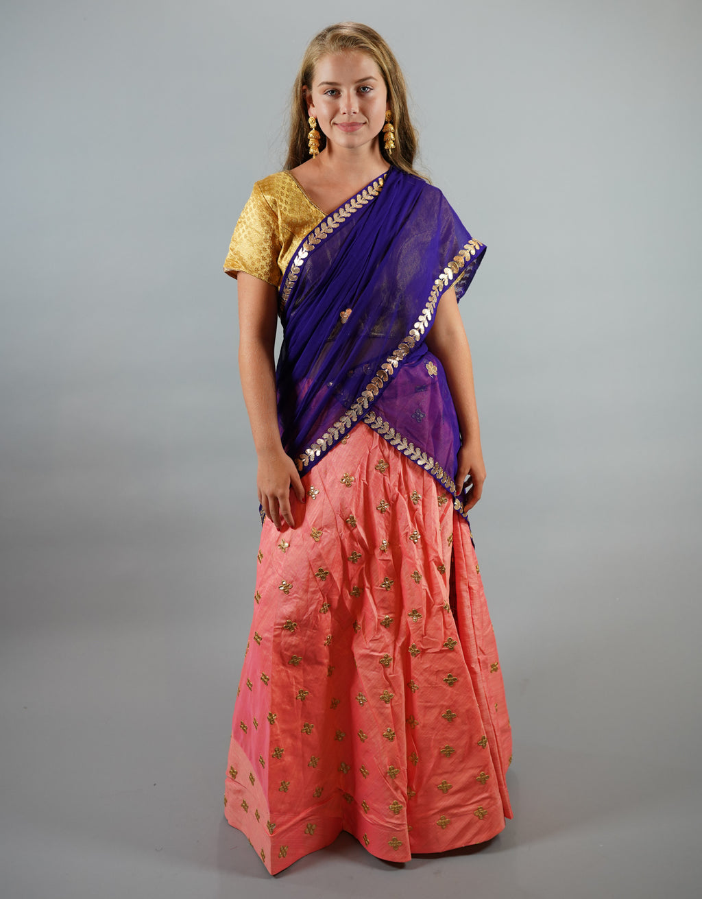Silk  Embroidered Flamingo Pink Lehenga Skirt
