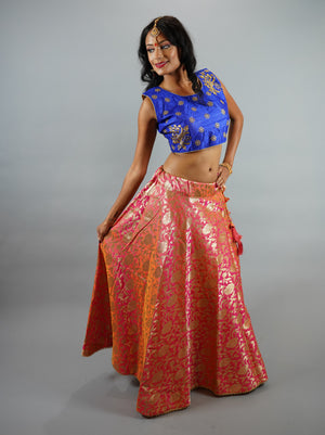 Banarasi Silk Two Tone Pink/Peach  Brocade Lehenga Skirt