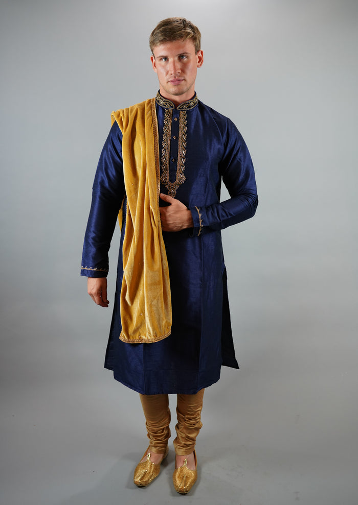 Silk Embroidered Royal Blue Men's Kurta